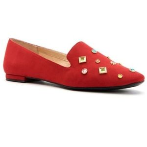 Katy Perry Red Gem The Turner Suede Loafer NWOT